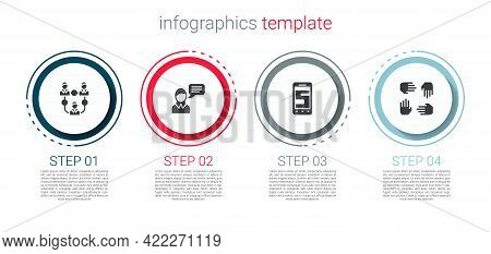 Set Project Team Base, Speech Bubble Chat, Chat Messages On Phone And . Business Infographic Templat