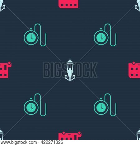 Set Double Decker Bus, Vintage Street Light And Watch With Chain On Seamless Pattern. Vector