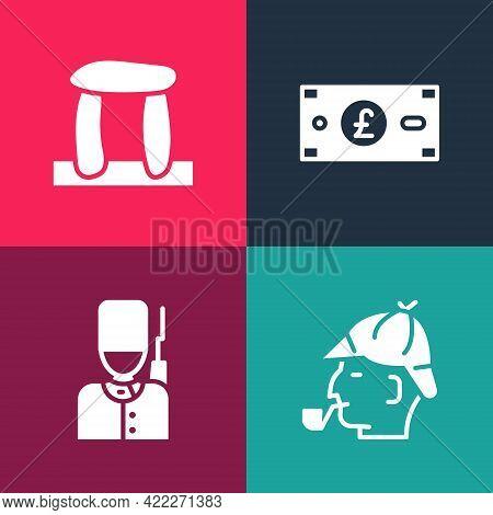 Set Pop Art Sherlock Holmes, British Soldier, Pound Sterling Money And Stonehenge Icon. Vector