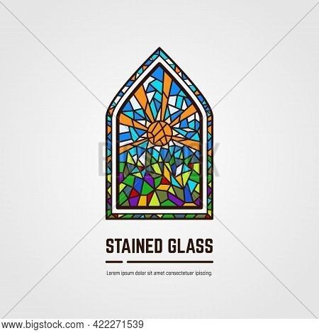 Colorful Stained Glass Window. Logo, Emblem Or Icon With Text. Sun With Rays And Grass. Thick Line S