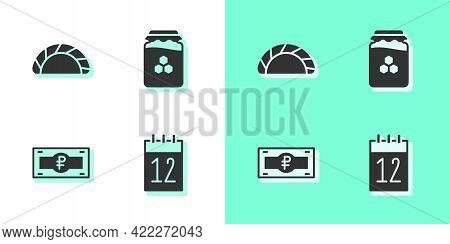Set Calendar 12 June, Dumpling, Russian Ruble Banknote And Jar Of Honey Icon. Vector