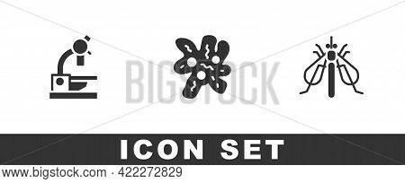 Set Microscope, Cell And Experimental Insect Icon. Vector