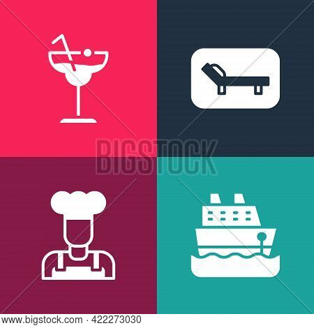 Set Pop Art Cruise Ship, Cook, Sunbed And Umbrella And Cocktail Icon. Vector