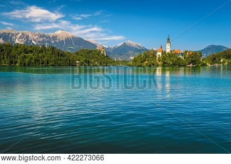 Majestic View With Small Island And Famous Castle On The Cliff, Lake Bled, Slovenia, Europe