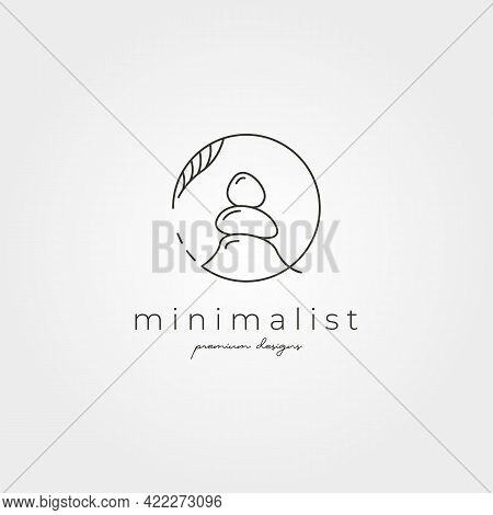 Vector Of Stone Line Art Logo Symbol Minimalist Illustration Design, Nature Stone Logo Design