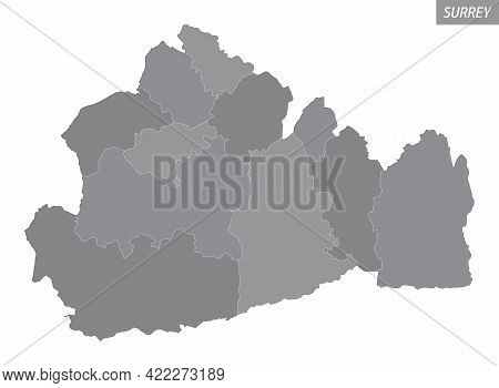 The Surrey County Administrative Map Divided In Grayscale And Isolated On White Background, England