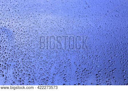 Water Drops On Window Glass, Natural Blue Texture