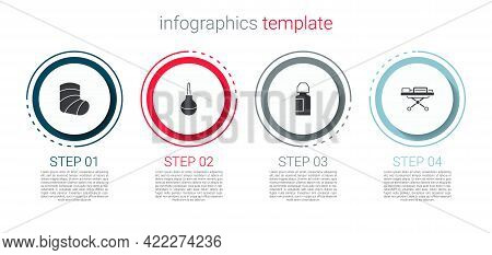 Set Gypsum, Enema, Eye Drop Bottle And Stretcher. Business Infographic Template. Vector