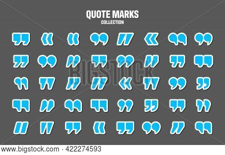 Quotation Marks Vector Collection. Blue Quotes Icon. Colorful Stickers Collection. Speech Mark Symbo