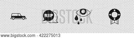 Set Hearse Car, Speech Bubble Rip Death, Tear Cry Eye And Memorial Wreath Icon. Vector