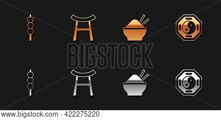 Set Meatballs On Wooden Stick, Japan Gate, Rice In Bowl With Chopstick And Yin Yang Icon. Vector