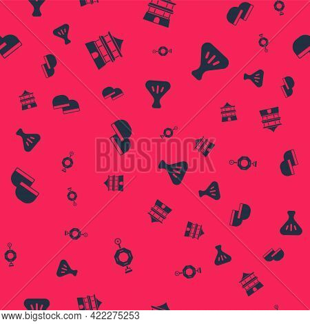 Set Chinese Paper Lantern, House, Tea Ceremony And Dumpling On Seamless Pattern. Vector