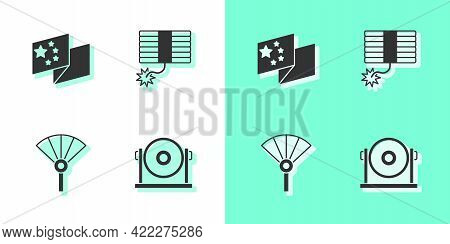 Set Gong, China Flag, Chinese Or Japanese Folding Fan And Firework Icon. Vector