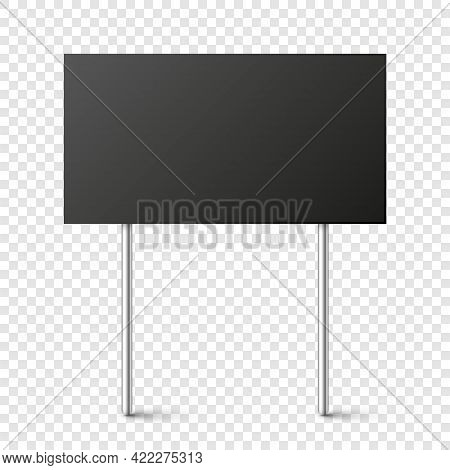 Black Blank Board With Place For Text, Protest Sign Isolated On Transparent Background. Realistic De