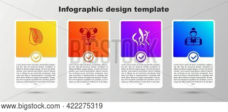 Set Mussel, Lobster, Seaweed And Fisherman. Business Infographic Template. Vector