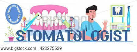 Dentist Concept Vector. Caries, Tartar Or Tooth Cyst Treatment.