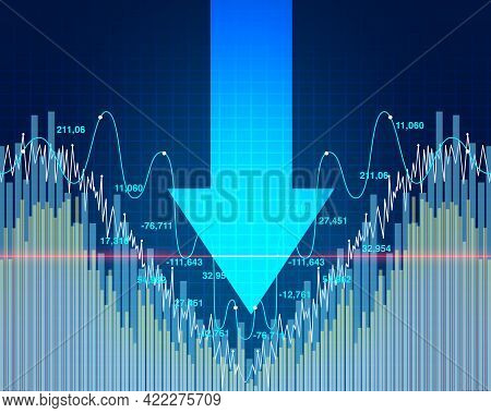 Stock Market Dip And Economy Decline Or Economic Fear And Financial Equity Selling As A Downward Arr