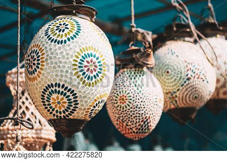 India. Market With Many Traditional Colorful Handmade Indian Lamps And Lanterns. Lanterns Hanging In