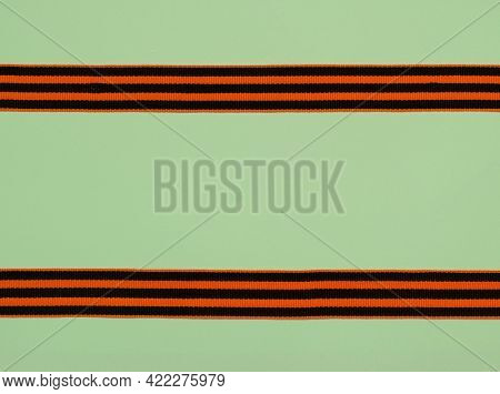 Victory Ribbon of Saint George symbol on green background