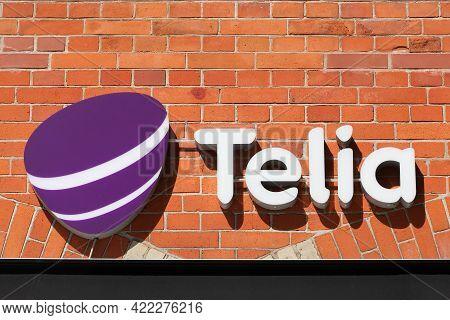 Svendborg, Denmark - August 13, 2020: Telia Logo On A Wall. Telia Is The Dominant Telephone Company