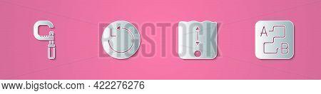 Set Paper Cut Micrometer, Radius, Depth Measurement And Route Location Icon. Paper Art Style. Vector