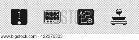 Set Depth Measurement, Measuring Instrument, Route Location And Scales Icon. Vector