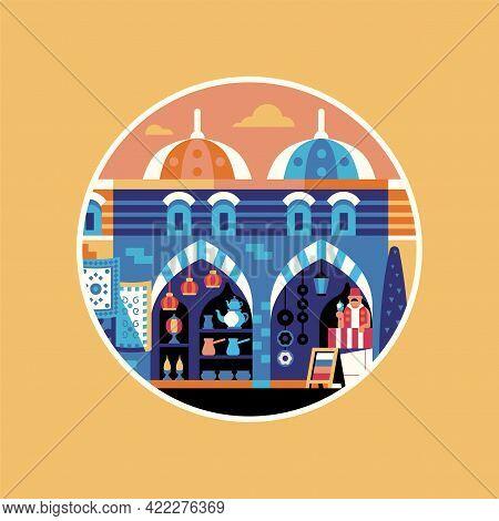 Istanbul Egypt Bazaar Travel Icon In Circle