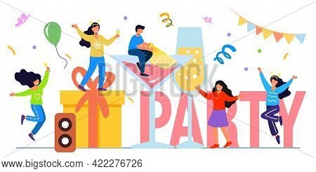 Weekend Party Flat Tiny Last Work Week Day Persons Vector Illustration Concept Happy Holiday Celebra