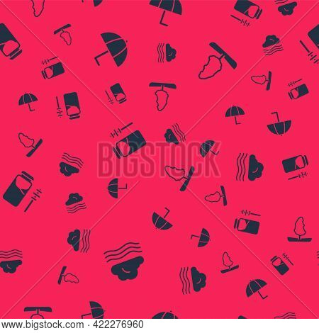 Set Windy Weather, Umbrella, Jar Of Honey And Dipper Stick And Tree On Seamless Pattern. Vector