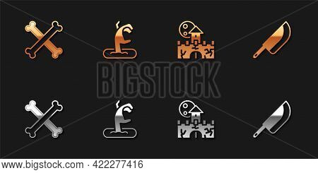 Set Crossed Bones, Zombie Hand, Castle, Fortress And Knife Icon. Vector