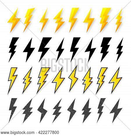 Black And Yellow Lightning Bolt Icons Isolated On White Background. Vintage Flash Symbol, Thunderbol