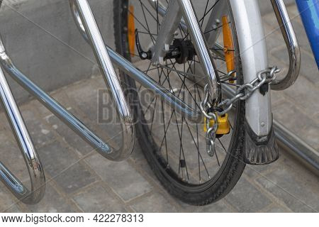 Bicycle Theft In The City. Anti-theft System For Bicycles.