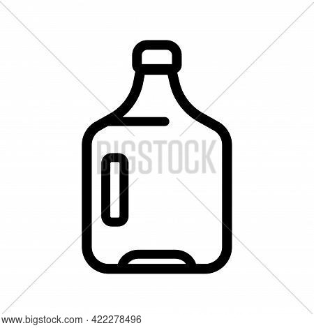 Plastic Water Bottle Outline Icon. Clean Spring Or Purified Water. Vector Illustration Line Design S