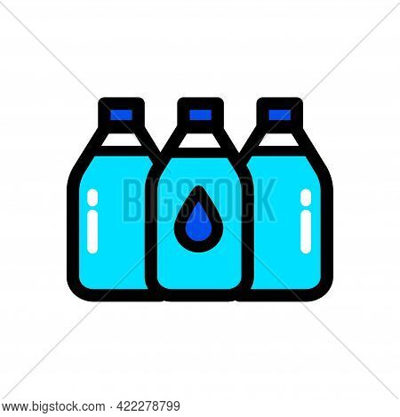 Plastic Water Bottle Set Color Simple Icon. Clean Spring Or Purified Water. Logo For Water Delivery