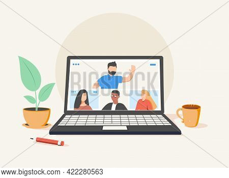 People Connecting Together, Learning And Meeting Online Via Teleconference Or Video Conference Remot