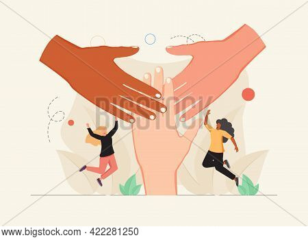 Solidarity And Unity As Connect Multiracial People Hands Tiny Person Concept. Teamwork And Social Co