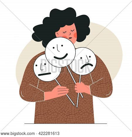 Woman Holds Mood Masks With Positive Negative Emotions. Girl Plays A Role, Searching Identity. Perso