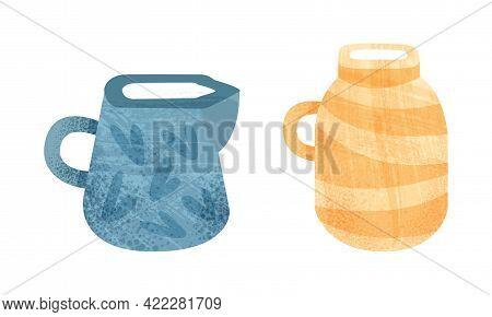 Clay Kitchenware Set, Ceramic Pottery With Decorative Ornament, Creamer And Jug Crockery Cartoon Vec