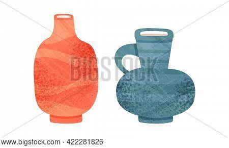 Clay Kitchenware Set, Ceramic Pottery With Decorative Ornament, Jug And Vase Crockery Cartoon Vector