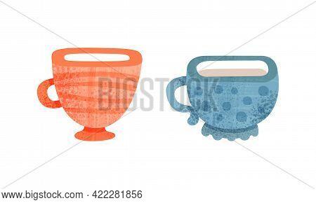 Clay Kitchenware Set, Ceramic Cups With Decorative Ornament Cartoon Vector Illustration
