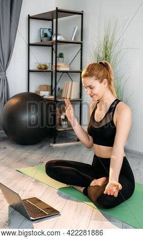 Online Yoga Class. Home Sport. Virtual Meditation Session. Female Fitness Coach In Activewear Greeti