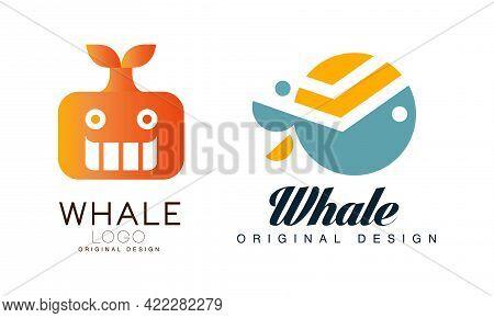 Whale Logo Templates Design Set, Sealife, Summer Adventure Labels Flat Vector Illustration