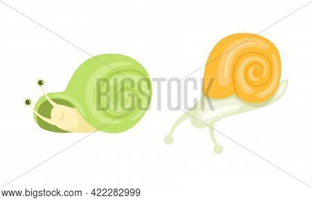 Cute Snails Set, Adorable Funny Baby Snail With Green And Yellow Shells Cartoon Vector Illustration