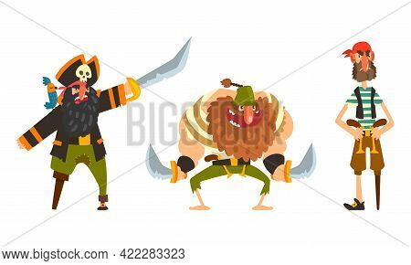 Funny Pirates Set, Captain And Sailor Characters Cartoon Vector Illustration