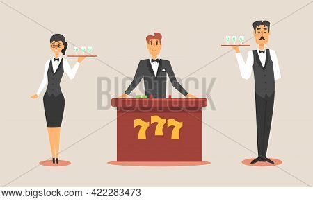 Casino Workers Set, Waiters And Croupier Characters Vector Illustration