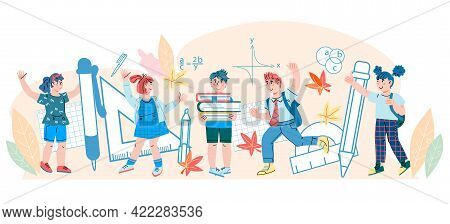 Back To School Background With Schoolchildren Characters, Cartoon Vector Illustration Isolated On Wh