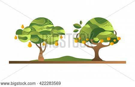 Set Of Fruit Trees With Ripe Fruits, Lemon And Orange Orchard Tree Flat Vector Illustration