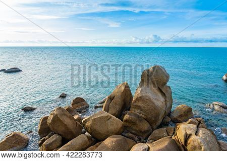 Beautiful Outdoor Tropical Beach Sea Around Samui Island With Coconut Palm Tree And Other For Holida