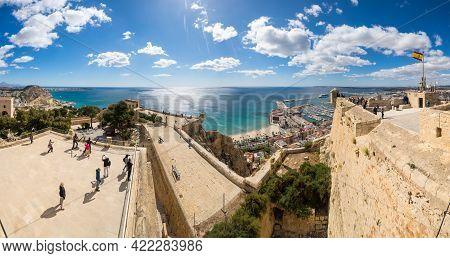 Alicante, Spain - 09 April, 2019: Panoramic View Of Alicante From Santa Barbara Castle, Spain