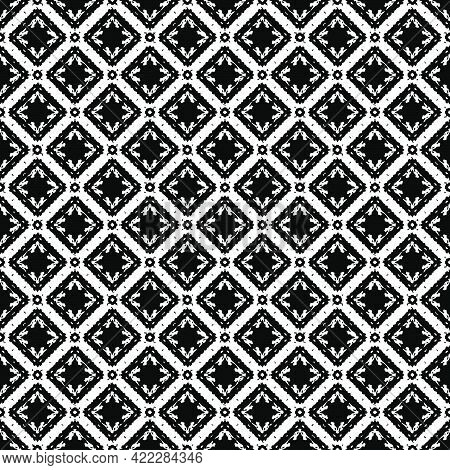 Black And White Pattern Texture. Bw Ornamental Graphic Design. Mosaic Ornaments. Pattern Template.